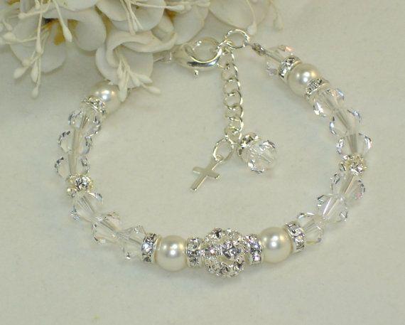 Flower Girl Jewelry Christening Bracelet by callalilyjewels, $25.00