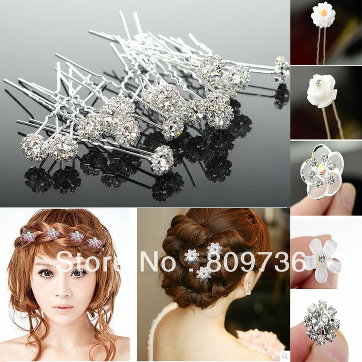 NEW 100Pcs Lots Wedding Bridal Crystal Faux Pearl Flower Hairpins Fashion Hair Accessories women Jewerly 6 styles US $16.39 - 28.39