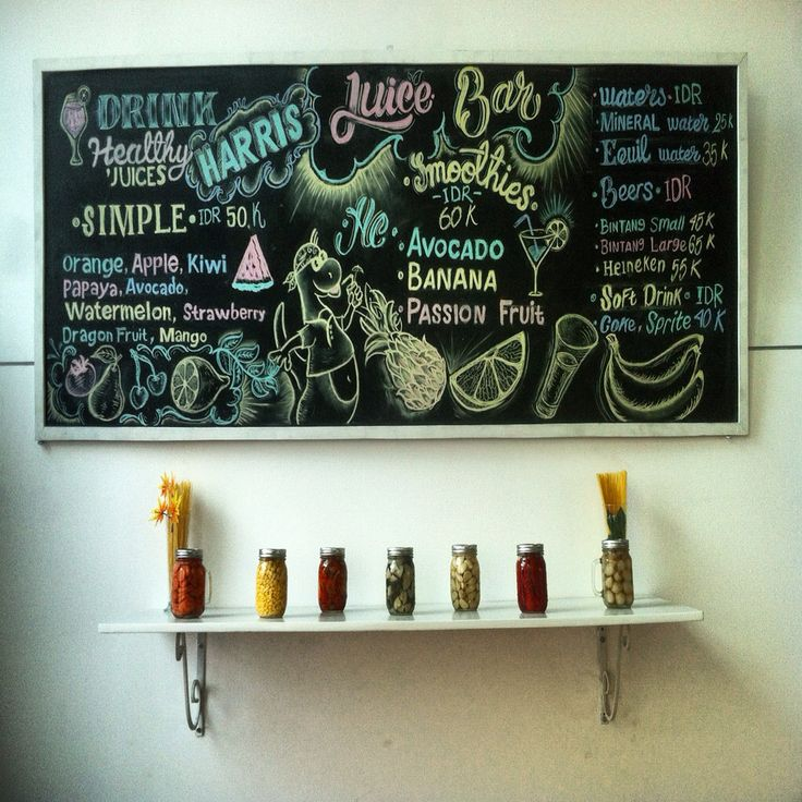 Juice bar handlettering by calk board