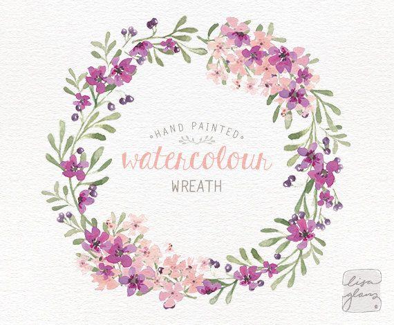 Watercolor wreath: floral wreath clipart / Wedding invitation clip art / commercial use / purple lilac pink blossom berries / CM0063f-purple