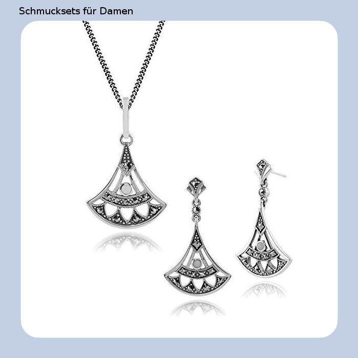 Silverly Sterling Silber CZ 46cm Kette Halskette Ohrringe Set