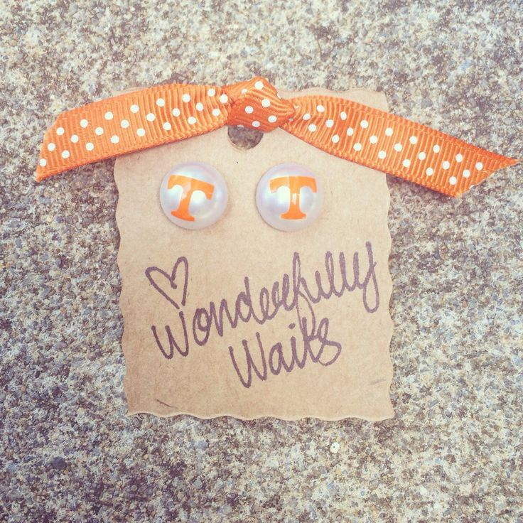 Tennessee Vols Pearl Earrings - 12mm - SEC football jewelry - football accessories by wonderfullywaits on Etsy https://www.etsy.com/listing/243844707/tennessee-vols-pearl-earrings-12mm-sec