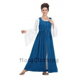 Bronwyn Long Renaissance Overdress With Cotton Chemise - Dresses
