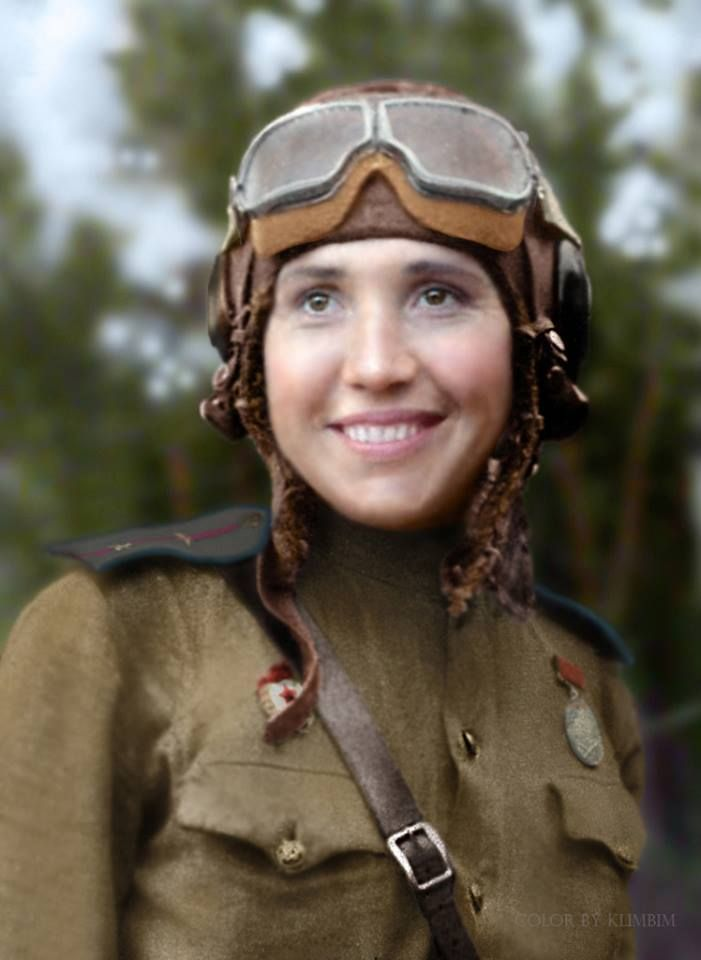 Soviet Fighter pilot Lt. Antonina Lebedeva (1916-1943)  Before the war, she studied at the Moscow State University and had been an instructor of one of the capital's flying clubs. Her military career began in the women's 586th Fighter Regiment, protecting the sky of Saratov. Later she was transfered to the 65th Guards Fighter Regiment.