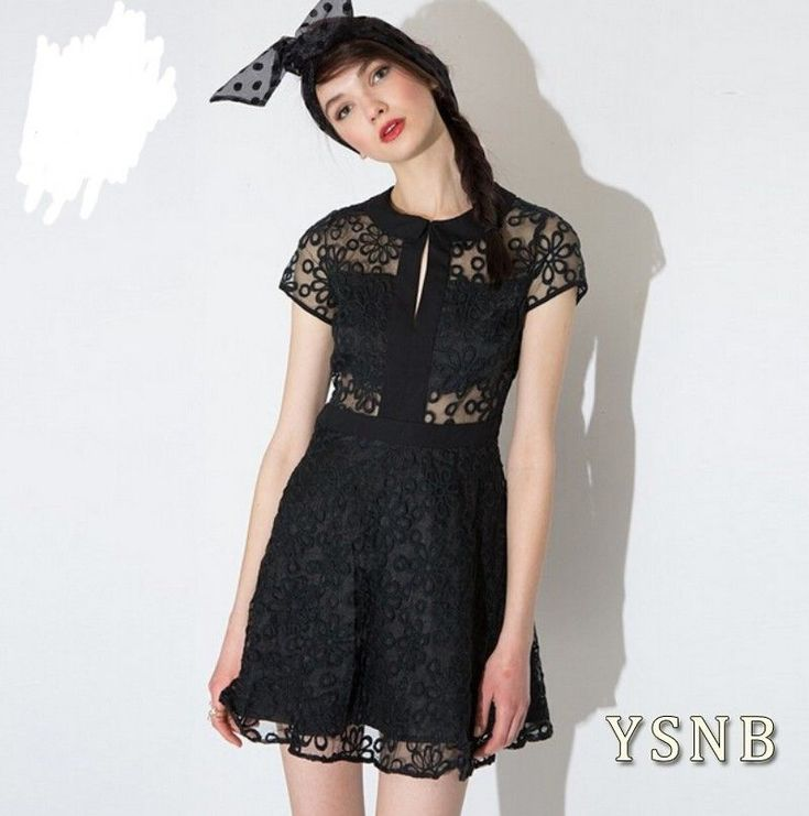 Lady Lace Hollow Short Sleeve Black Mini Cocktail Evening Party Short Dress