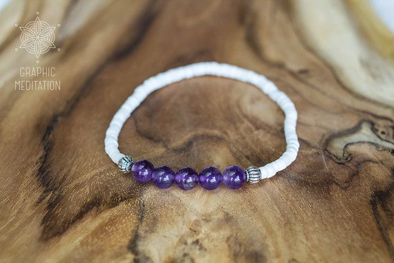 Amethyst and shells bracelet Healing crystals by GraphicMeditation
