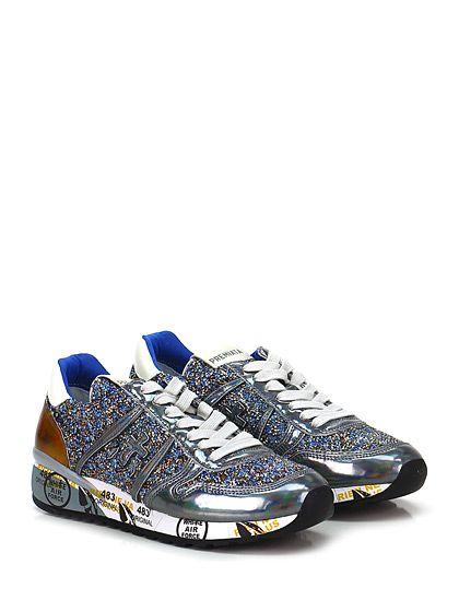 PREMIATA - Sneakers - Donna - Sneaker in pelle specchiata e pietre colorate con suola in gomma. Tacco 40, platform 20 con battuta 20. - 1410 SILVERAZZURRO - € 267.00