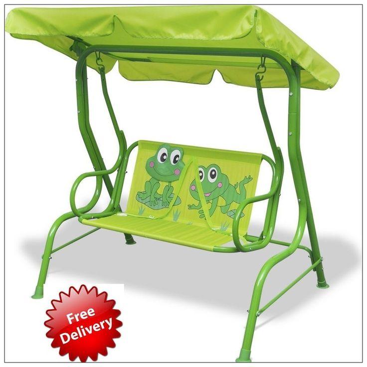Outdoor Kids Swing Garden Play Toy Fun Swing Metal Chair Bench Seat Green Uk