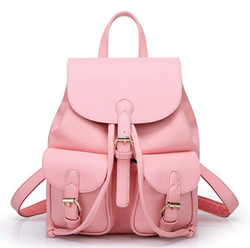 Buenocn Women Soft Leather Lovely Backpack Cute Schoolbag Shoulder Bag Shy360 (pink)