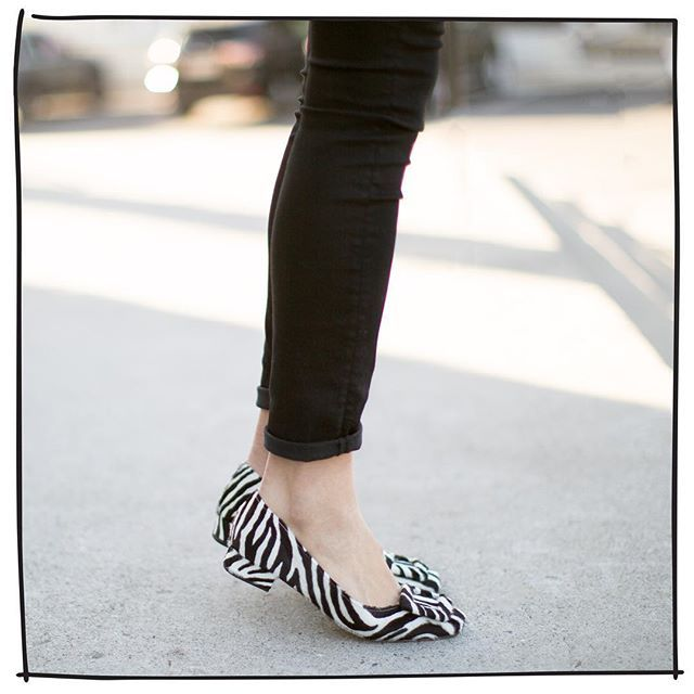 (HEELS UP) Pilgrim's Progress! A demi-heel and super-sixties geometric buckle to make you feel like Belle du Jour. link in bio. 👠 #AnnMashburn #buckleshoe #footwear #zebraprint