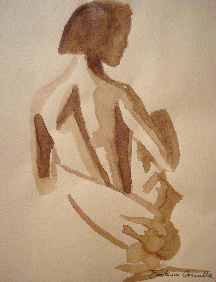 ritratto a statua - mordente color noce scuro su carta gialla, di misure 12,4x17,3