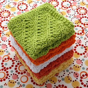 Download Free Pattern Details - Sugar'n Cream - Diagonal Stitch Dishcloth (knit)