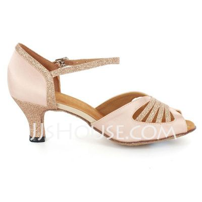 Femmes Satiné Pailletes scintillantes Talons Sandales Latin avec Lanière de cheville Chaussures de danse (053021560)