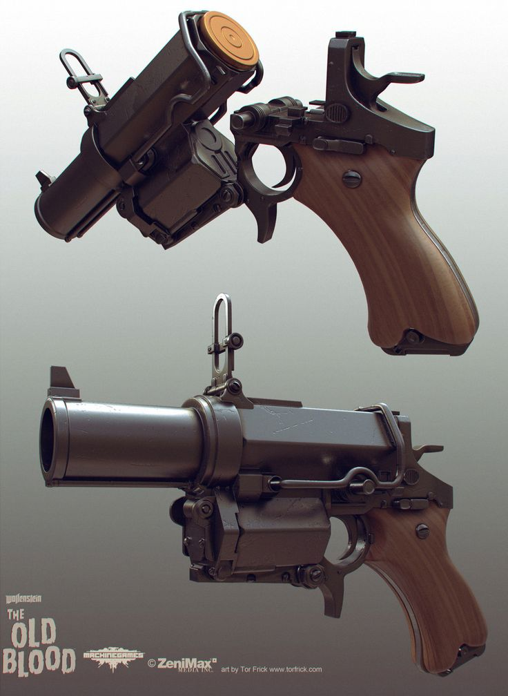 Wolfenstein: Old Blood Kampfpistol, Tor Frick on ArtStation at https://www.artstation.com/artwork/wolfenstein-old-blood-kampfpistol