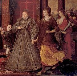 Elizabeth ushers in Peace and Plenty. Detail from The Family of Henry VIII: An Allegory of the Tudor Succession, c. 1572, attributed to Lucas de Heere.