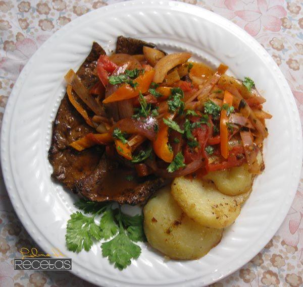 Higado encebollado.  Liver w/ Onions, tomato, cilantro and chile serrano & roasted red potato