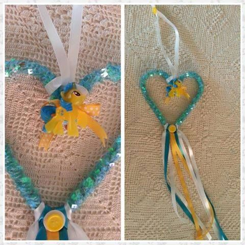 Handmade by La la bree  Gorgeous hanging dream catcher featuring a little pony, sequins and ribbons.