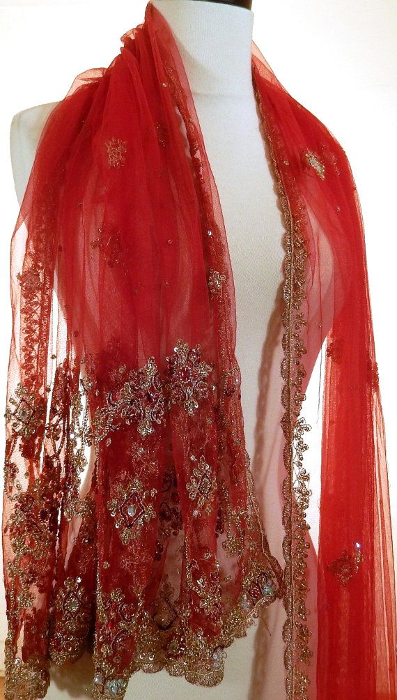Formal Evening Wrap Red Shawl Beaded Shawl Indian By
