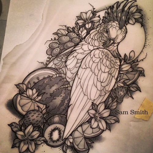 A little fruity friend for Sarah! But imagine it with 30 billion colours. #tattoo #goodguysupply #icanfeelitdowninmyplums