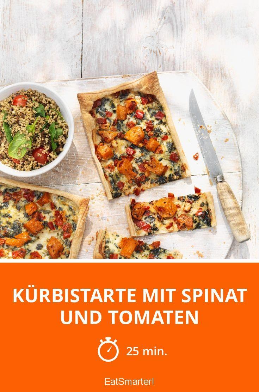 Kürbistarte mit Spinat und Tomaten