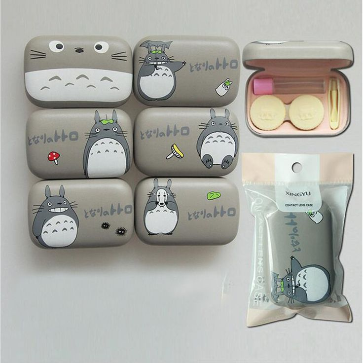 Cute Cartoon Contact Lens Case Totoro Face Print Faux Leather Eyewear Cases Box  #Unbranded