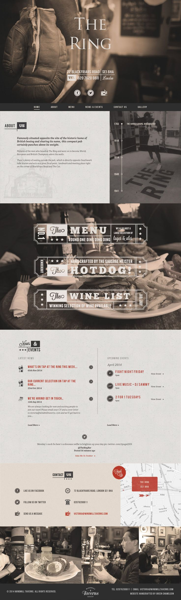 Responsive One Pager for 'The Ring Pub' based in London. The design features a lovely sepia color scheme and a good choice of typography against a subtle textured background. Lovely added effort with the custom icon set and also the AJAX loading Menu that is consistent with the site design. Nice to see a South African wine there;) Another great addition to the impressive arsenal of Green Chameleon.
