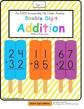 FREE File Folder Game Double Digit Addition Without Regrouping Ice Pop Theme - Autism Educators - TeachersPayTeachers.com