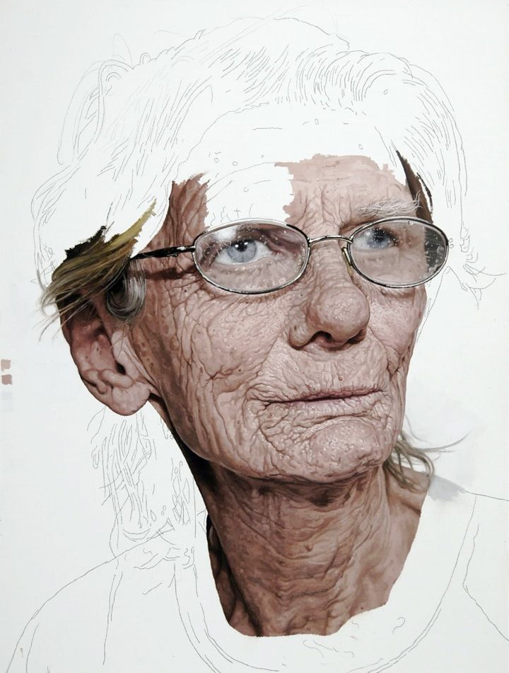 "Colin Chillag is a New York based artist who paints these incredible ""unfinished"" photorealistic portraits of the elderly."