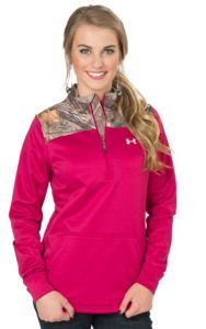 Under Armour Women's Caliber Fury Pink and Camo 1/4 Zip Jacket | Cavender's