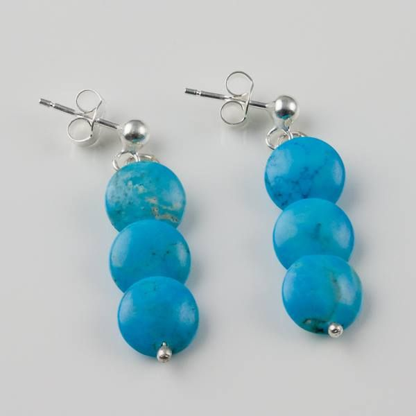 New turquoise silver earrings