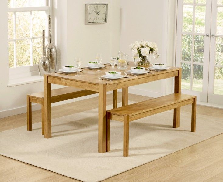 Buy The Oxford 150cm Solid Oak Dining Table With Benches At Furniture Superstore