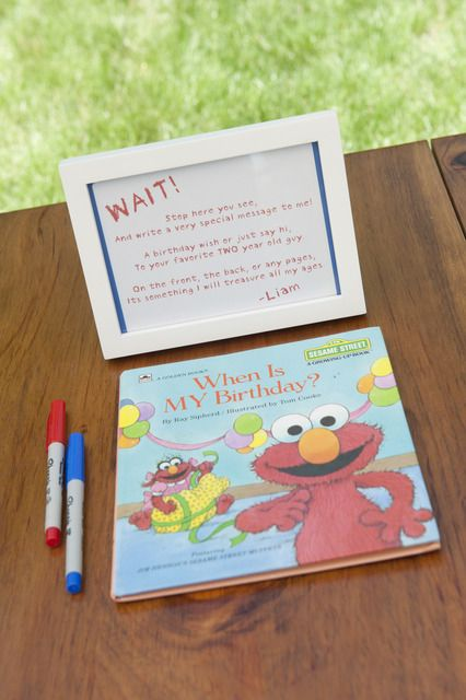 A guestbook for kids birthday parties.  I love the idea - you can do a different book each year based on the theme of the party.  What a wonderful keepsake! Would be great for a baby shower too!