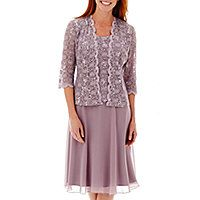 R&M Richards Long-Sleeve Lace Chiffon Jacket Dress - R&M Richards Long-Sleeve Lace Chiffon Jacket Dress