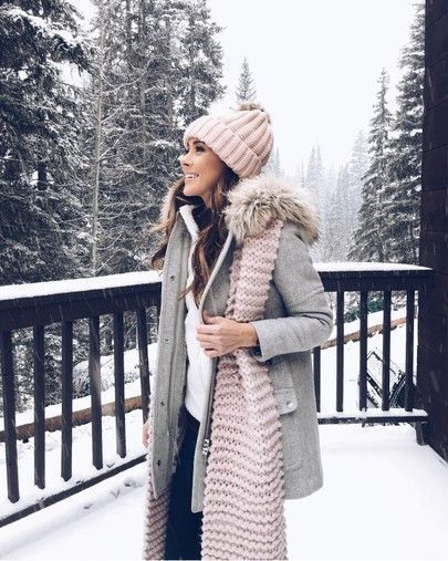 cdebd912a058d8 Winter pink beanie pink scarf Gray coat white sweater black pants ...