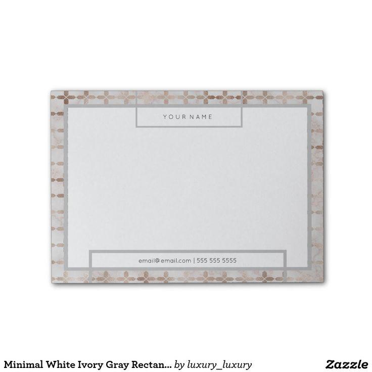 Minimal White Ivory Gray Rectangle Luxury Marble