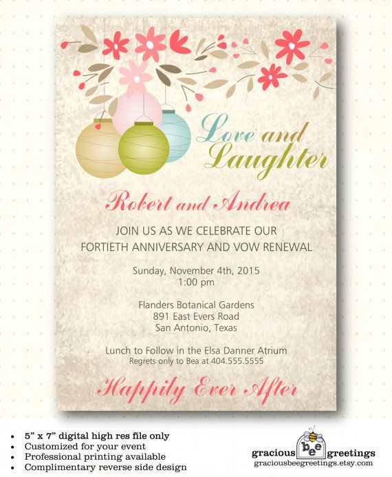 Vow Renewal Invitation Wedding Anniversary 25th