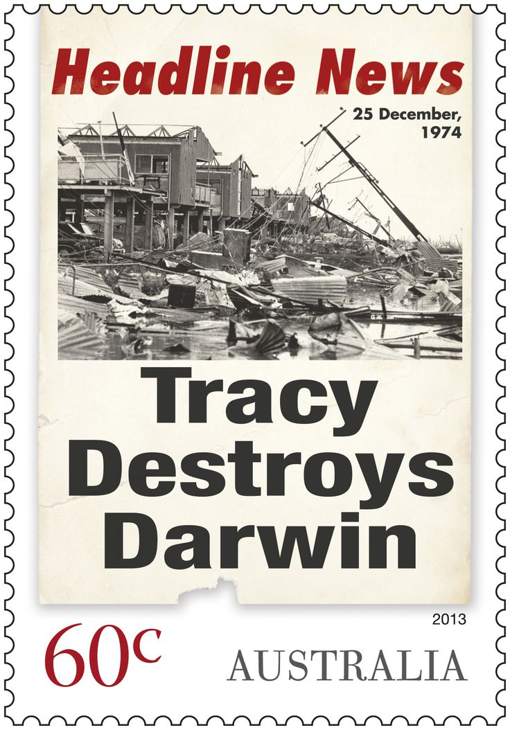 Headline News stamps of the 1974 Cyclone Tracy that hit Darwin. #stampcollecting