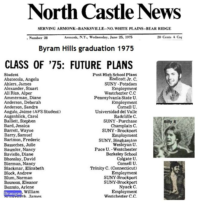 Billy 1975, his future plans after graduation Byram Hills.