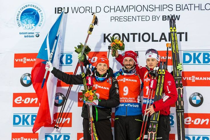 15.03.2015, Kontiolahti, Finland (FIN): Ondrej Moravec (CZE) Silver, Jakov Fak (SLO) Gold and Tarjei Boe (NOR) Bronze - IBU world championships biathlon, Men Mass Start, Kontiolahti (FIN),