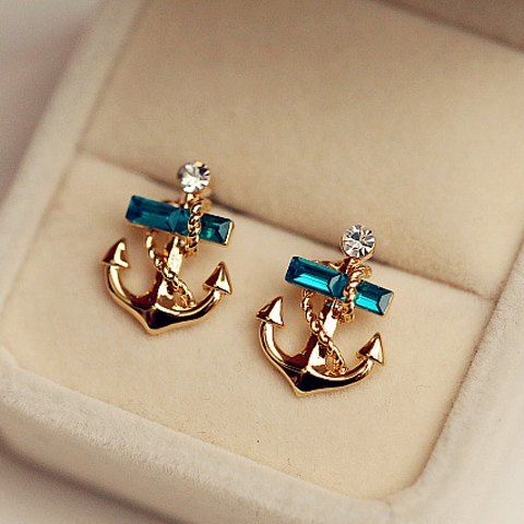 Pair of Sweet Faux Crystal Decorated Anchor Shaped Stud Earrings For Women
