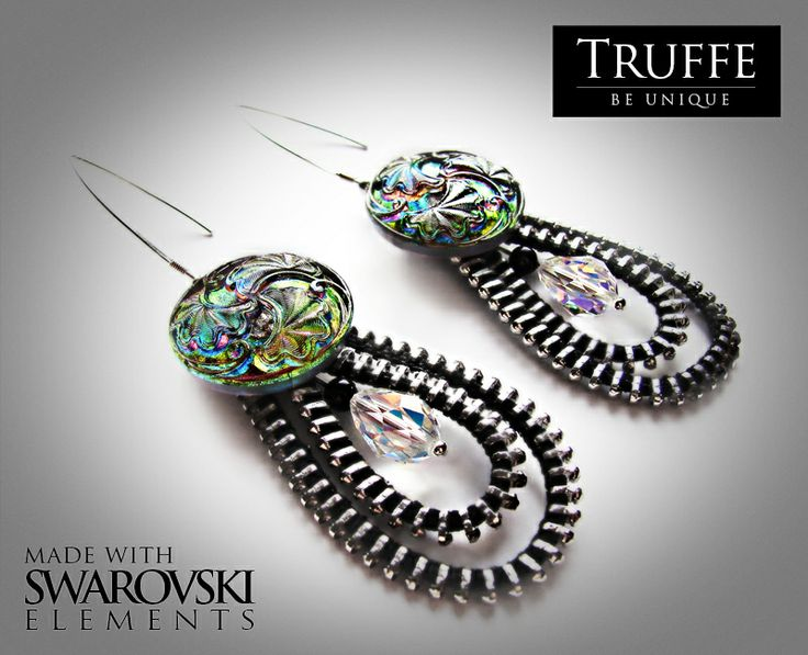 Zipper earrings made with Svarovski Crystal Elements, czech glass buttons and silver (925) high quality materials..