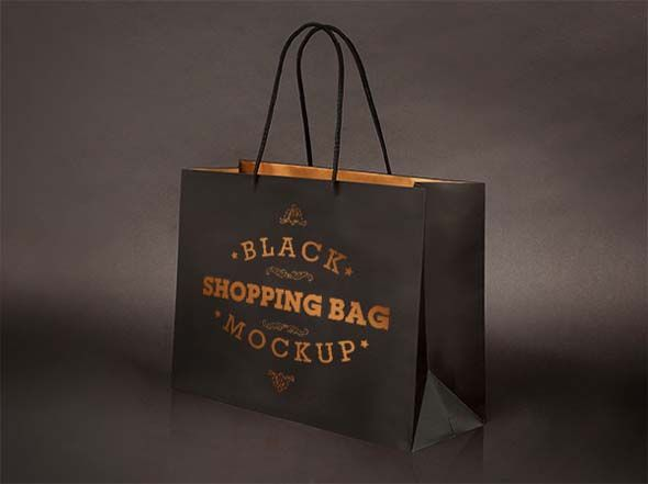 Download Free Psd Realistic Black Shopping Bag Mockup Bag Mockup Paper Bag Design Free Mockup