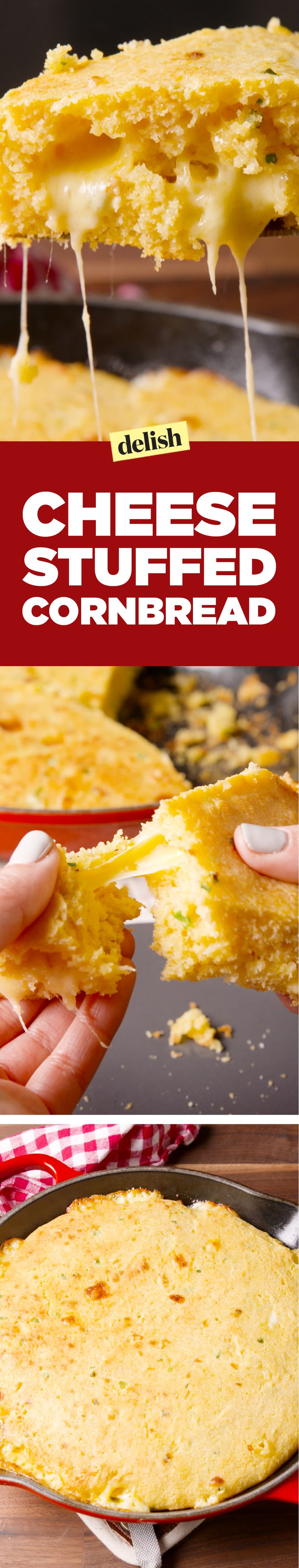 Cheese stuffed cornbread is the definition of comfort food. Get the recipe on Delish.com.