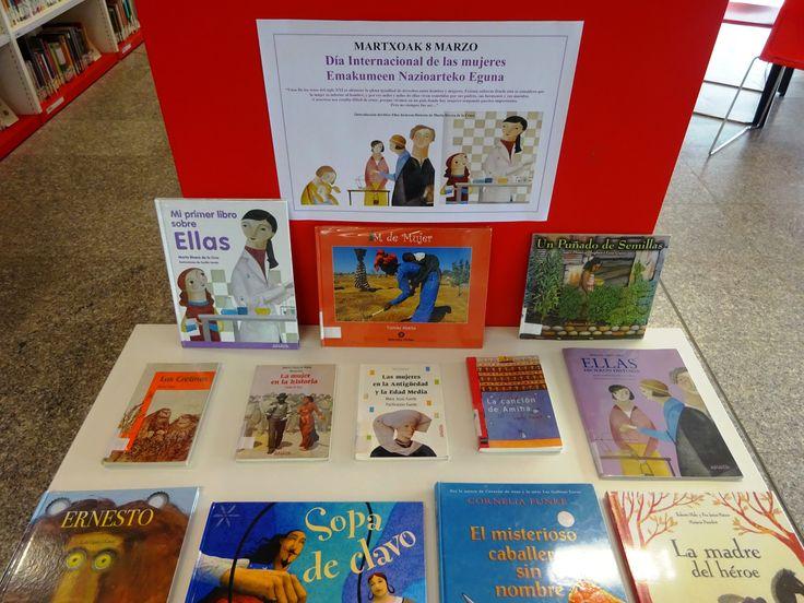 """8 de marzo. """"DÍA INTERNACIONAL DE LA MUJER"""" en la biblioteca infantil. Martxoak 8. """"EMAKUMEEN NAZIOARTEKO EGUNA"""" haur liburutegian."""