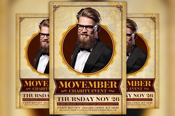 Movember Charity Event Flyer  by Flyermind on @creativemarket