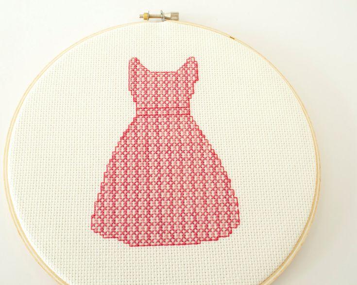 Modern cross stitch pattern pdf retro pink dress fashion colleciton
