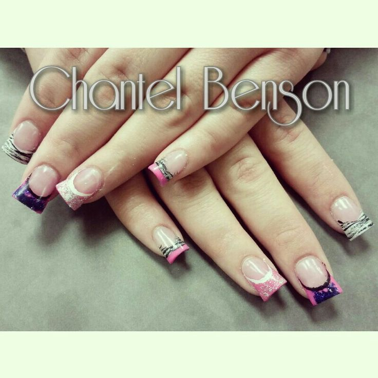 Cute crazy acrylic nails with an ombre and zebra