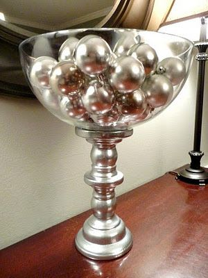 A pedestal candle holder + silver spray paint + glue + glass bowl = absolute prettiness!