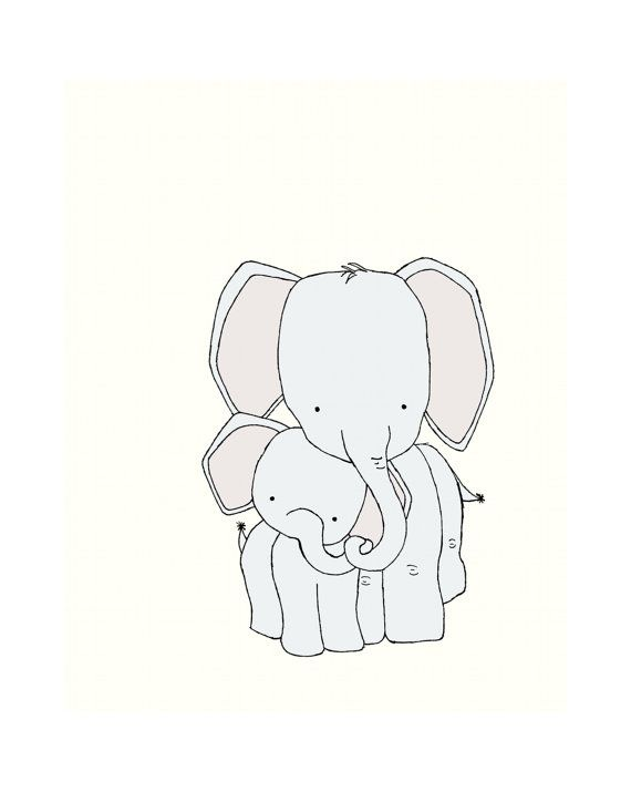 Elephant Nursery Art Print, Neutral Nursery Decor, 8x10 Elephant Art Print, Mama and Baby Elephant, Children Giclee Art Print, Kids Wall Art on Etsy, $15.00