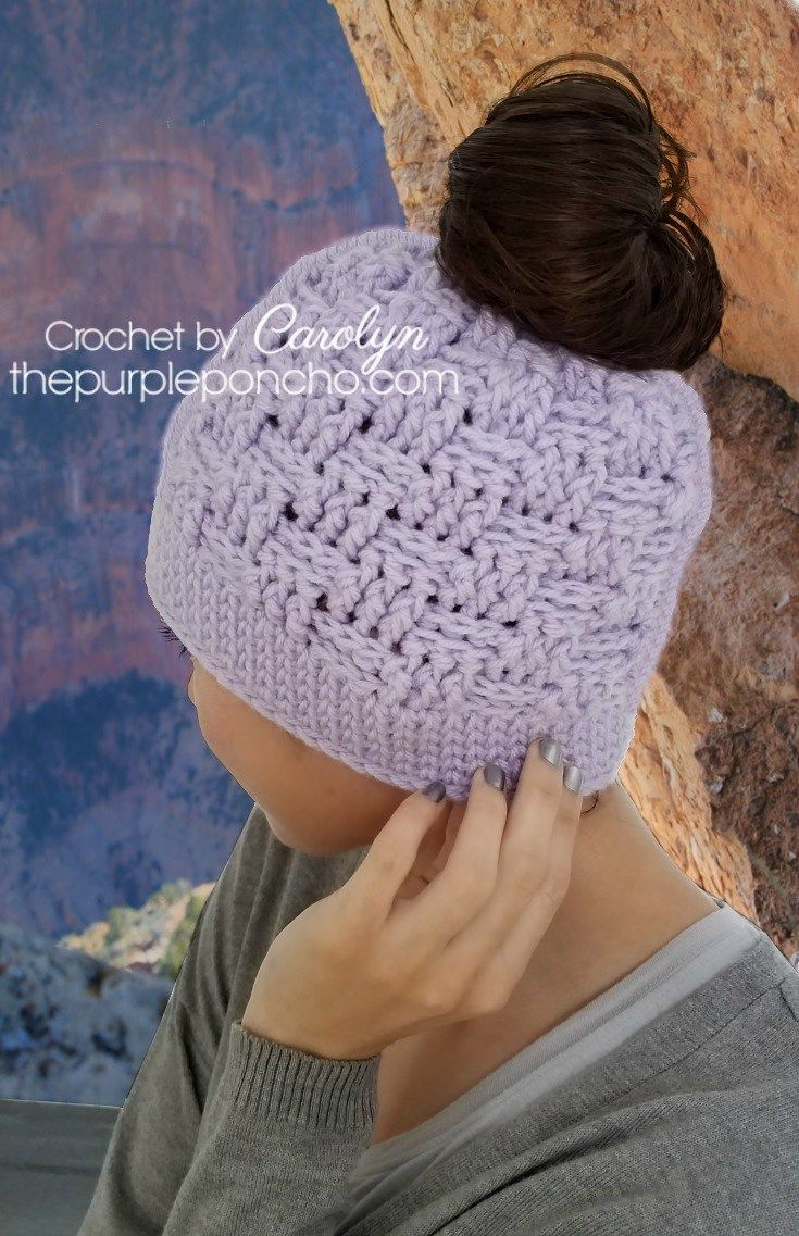 9373 best crochet free patterns images on pinterest crochet basketweave messy bun hat free crochet pattern httpthepurpleponcho bankloansurffo Choice Image